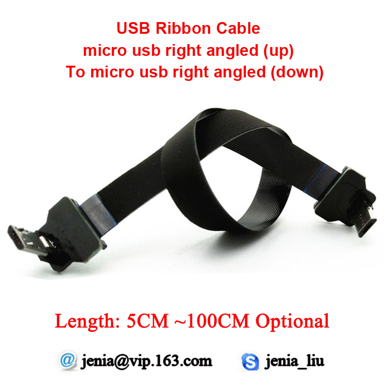 5CM ~ 100CM Flat Ribbon Usb Metal Cable 90 Degree Micro USB Cable Right Angled ( Up To Down ) Ffc Ultra Thin Cable