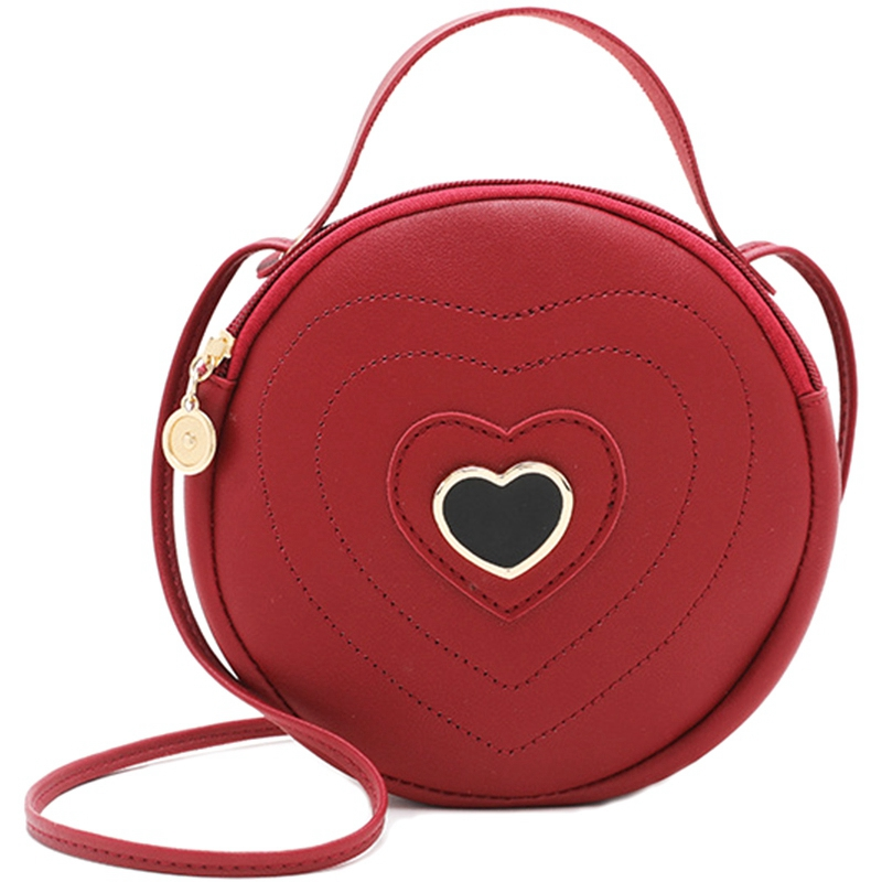 Fashion Cute Round Heart-Shaped Pattern WomenS Zipper Messenger Bag Shoulder Bag HandbagFashion Cute Round Heart-Shaped Pattern WomenS Zipper Messenger Bag Shoulder Bag Handbag
