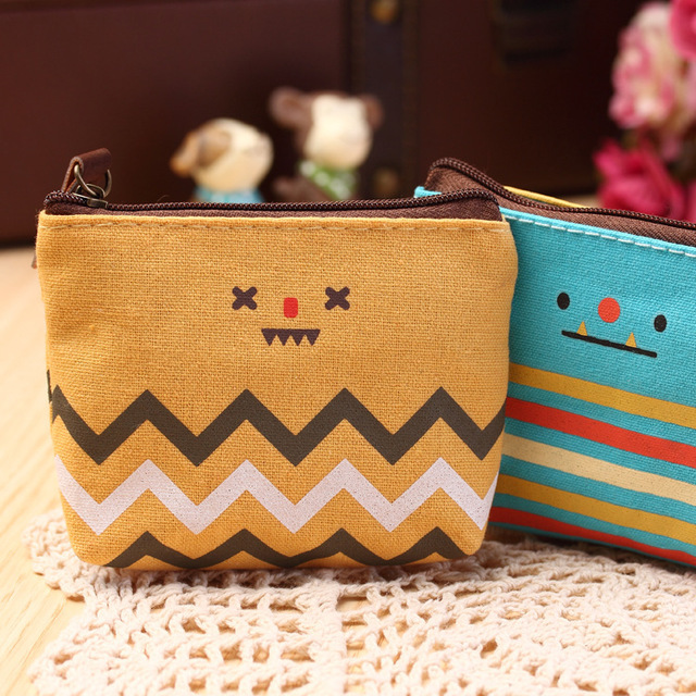 Korean Fashion Coin Bag Creative Purse Cartoon Lovely Smile Face Coin Purses Unisex Key Wallets Canvas Gift Wallets Small Purse