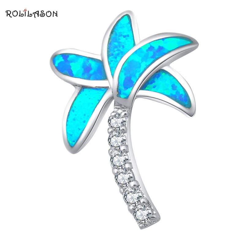 Partai Eceran grosir Pohon desain Biru Fire Opal Perak Stamped Kalung - Perhiasan fashion - Foto 1