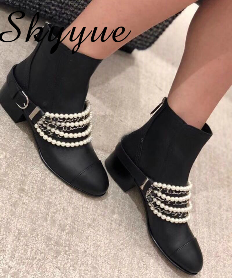 SKYYUE New Genuine Leather Metal Chain Pearl Beading Women Boots Round Toe Zip Back Women Ankle Boots Shoes Women