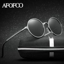 AFOFOO Aluminium Magnesium Polarized Sunglasses Men Brand Designer Retro Round Driving Sun glasses Male Women UV400 Eyewear