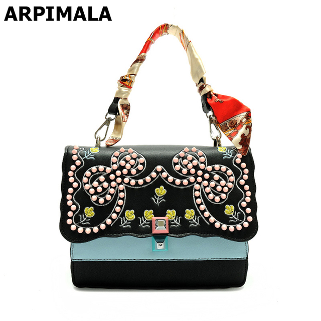 cbaf5067cc18 ARPIMALA 2017 Beauty Printed Flower Summer Bag Pretty Stud Satchels Women  Leather Handbags Luxury Designer Chain