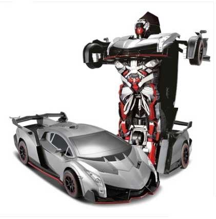 Kingtoy USB Charging RC Car Red Color Remote Control Deformed Car Robot