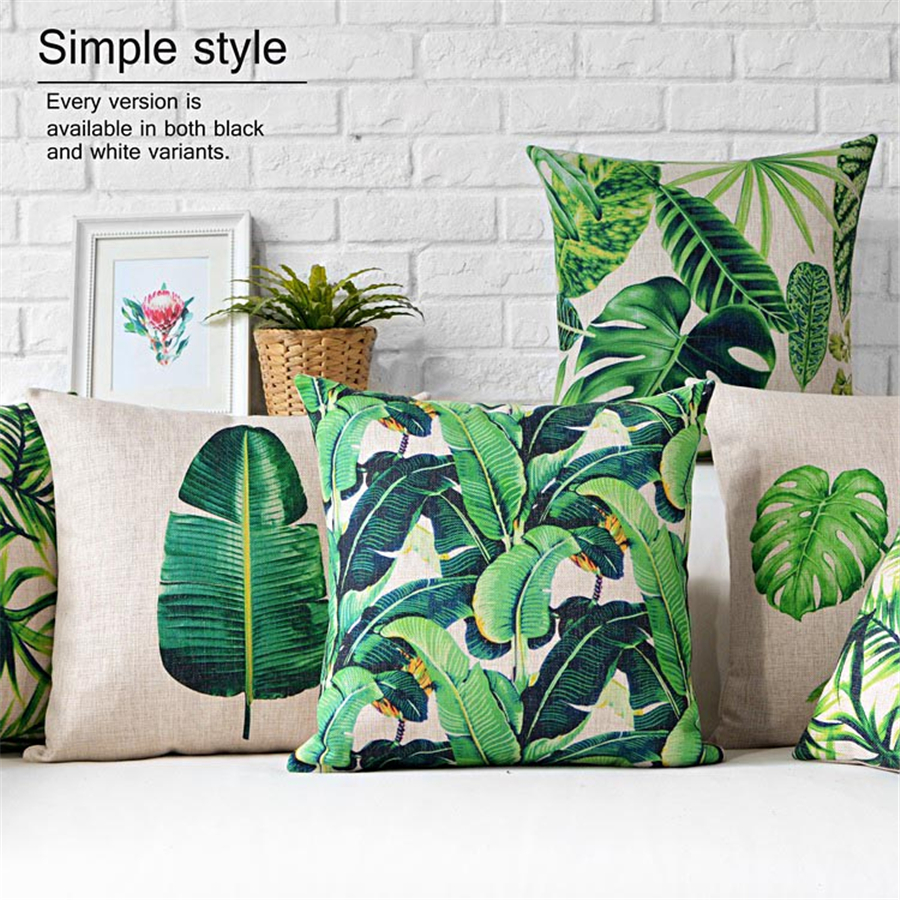 European Modern Green Leaves Printed Square Pillows