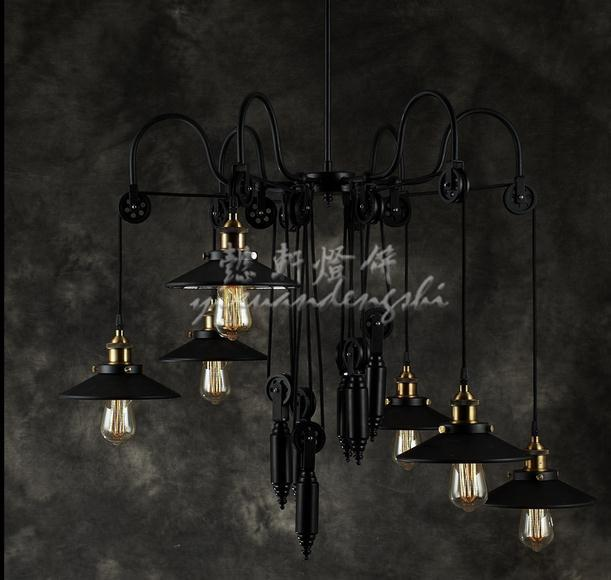 American Minimalist Retro iron Lift pulley Industrial Loft Chandelier Rustic Restaurant Bar lamp