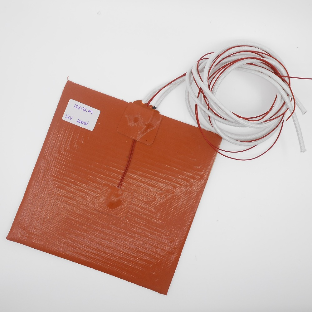 DuoWeiSi 3D Printer Parts 150*150mm Silicone Heating Pad Heater 12V 200W  220V 100W 3d Printer 15*15cm Heatbed