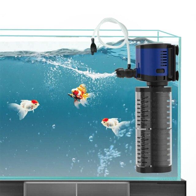 最新水槽フィルタポンプダブル濾過スポンジ、水槽水中2層フィルターポンプ、作成空気 & 水スプレーノズル