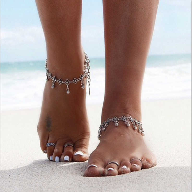 RscvonM Hot Silver Color Anklets for Women Vintage Bracelet Bohemian Flower chaine cheville barefoot sandals halhal Foot Jewelry