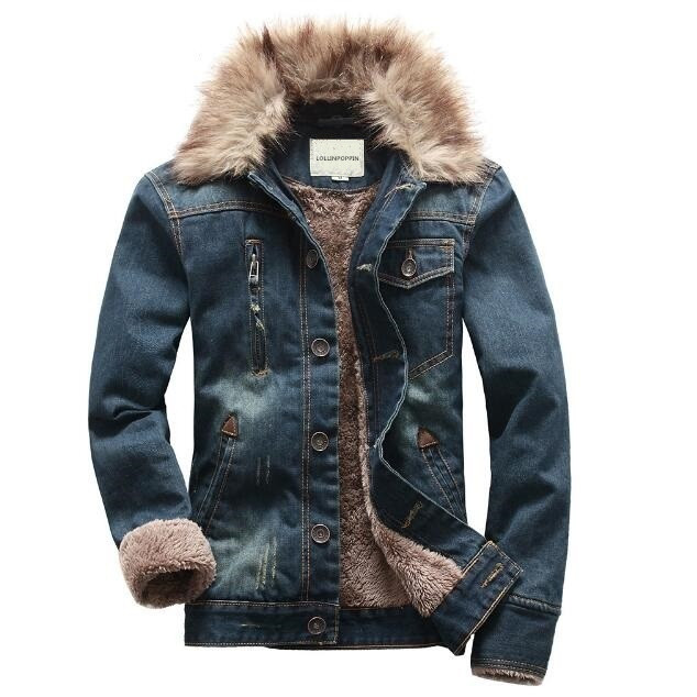 Men Denim Jacket Fur Collar 2017 New Fashion Winter Thick Jean Jackets Scratched Design ...
