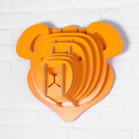 Morden Home Decor 9 Colors Teddy Bear Wood Wall Hanging Craft Wooden Animal Head Furniture For Home Orange White Black WDM006M