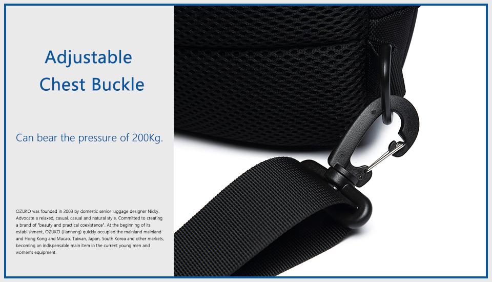 OZUKO 2019 New Multifunction Crossbody Bag for Men Anti-theft Shoulder Messenger Bags Male Waterproof Short Trip Chest Bag Pack 16