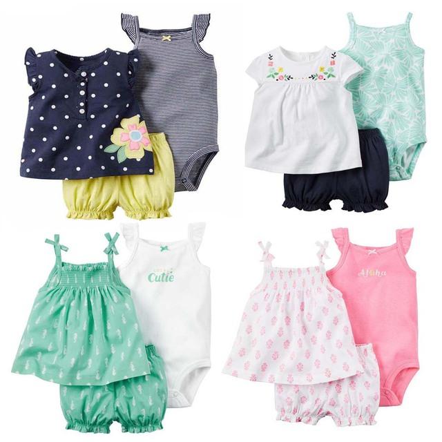 Verano bebes baby girl dress condole 3 unidades set, gallus hamaca niños chica tirantes falda con las hombro-correas corto