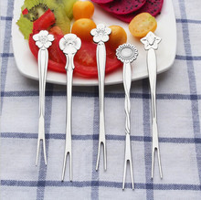 5pcs/set Creative Flowers Stainless Steel Fruit Fork Dessert Cake Kitchen Tools Hotel Restaurant Home Party Supplies