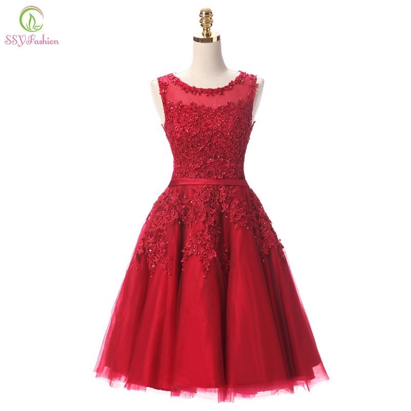 3982 20 De Descuentossyfashion Vino Rojo Encaje Corto Vestidos De Dama De Honor La Novia Cuentas Sin Mangas Banquete Vestido De Fiesta