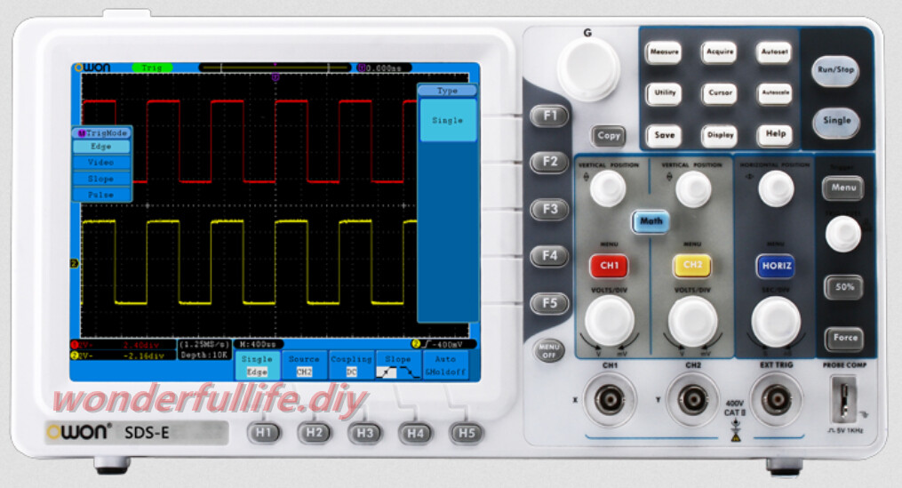купить New OWON SDS6062E Portable Digital Oscilloscope Channel 2 + 1 (external) Bandwidth 60MHz Sample Rate 500MS/s Record Length 100K по цене 23118.47 рублей