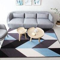 European Simple Style Washable Non slip Rug Blue Geometric Pattern Rectangle Carpet for Bedroom Living Room