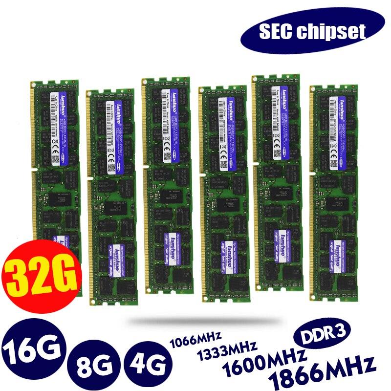 Lanshuo 4GB 8GB 16GB 4G 8G 16G DDR3 PC3 1866Mhz 1600Mhz 1333 14900 12800 10600 R 1333MHZ PC Server PC Memory RAM Memoria Module
