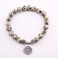 GVUSMIL New Arrival Design Dalmatian Natural Stone Bracelet Men`s Wrist Mala Beads Jewelry Solar Plexus