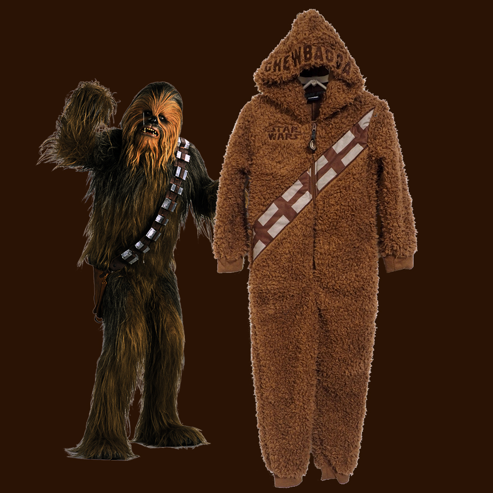 Boys Girls Star Wars Chewbacca Cosplay Costume Warm Bathrobe Hooded Bodysuit Jumpsuit Carnival Chirismas Party Prop