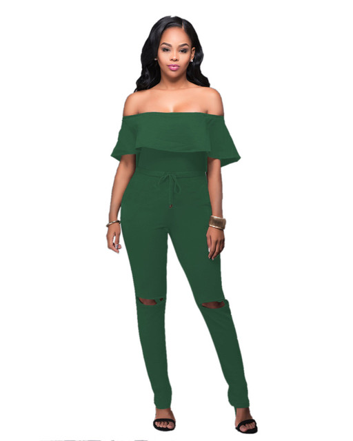 Fashion Long Jumpsuit for Women Drawstring Waist Rompers Women Jumpsuits Sexy Ruffles Off Shoulder 2017 Summer Overalls Playsuit