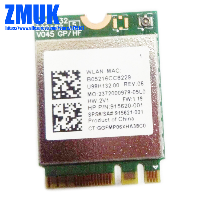 RTL8821CE 802.11AC 1X1 Wi-Fi+BT 4.2 Combo Adapter Card For Hp  ProBook 450 G5 PB430G5 Series,P/N 915621-001