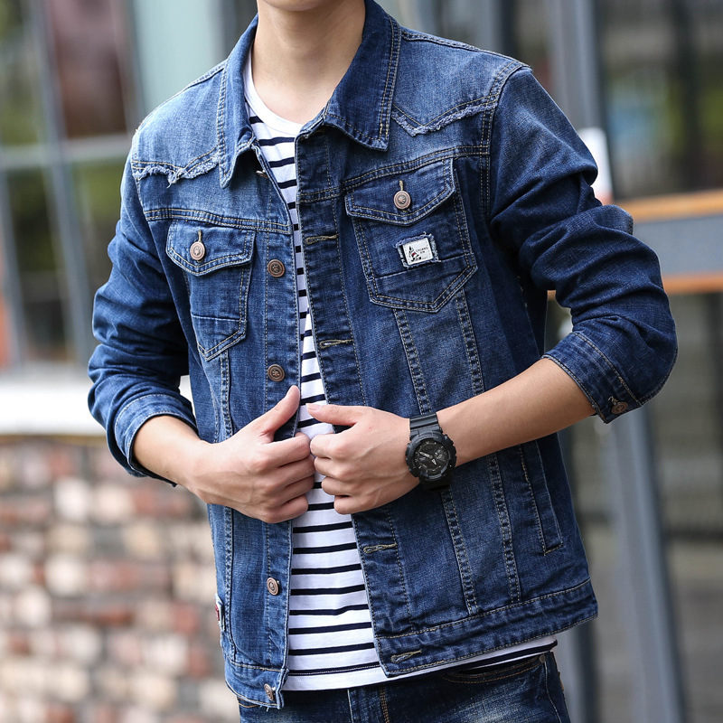 LEDINGSEN Skinny Blue Ripped Denim Jacket Mens Vinage Distressed Jeans Coat Hip Hop Streetwear Casual Hole Jean Jacket Coats 3XL
