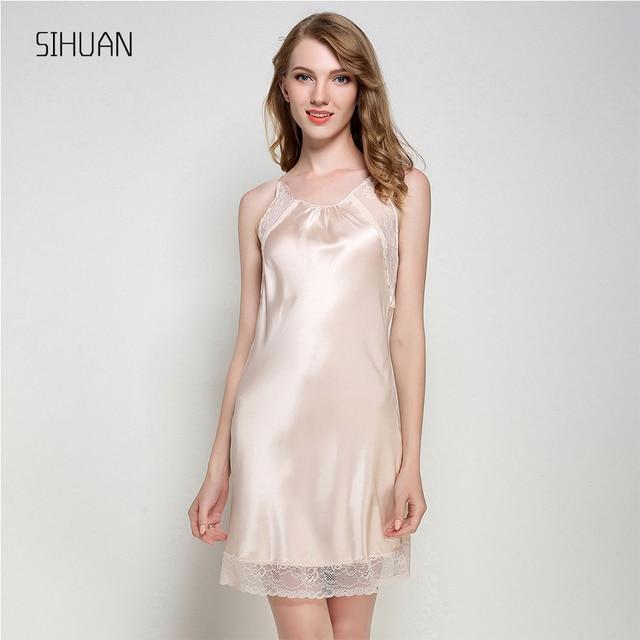 713a453daa SIHUAN Nightgown Women Slik Sleepwear Sexy Night Dress V Neck Strap Solid  Nightwear Sleep Dress Female Home Clothes Bathrobe