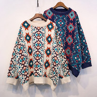 European American Women Knitted Pullover Tops Lazy Ofa Batwing Sleeve Oversized Sweater Vintage Geometric Pattern Ladies Jumpers