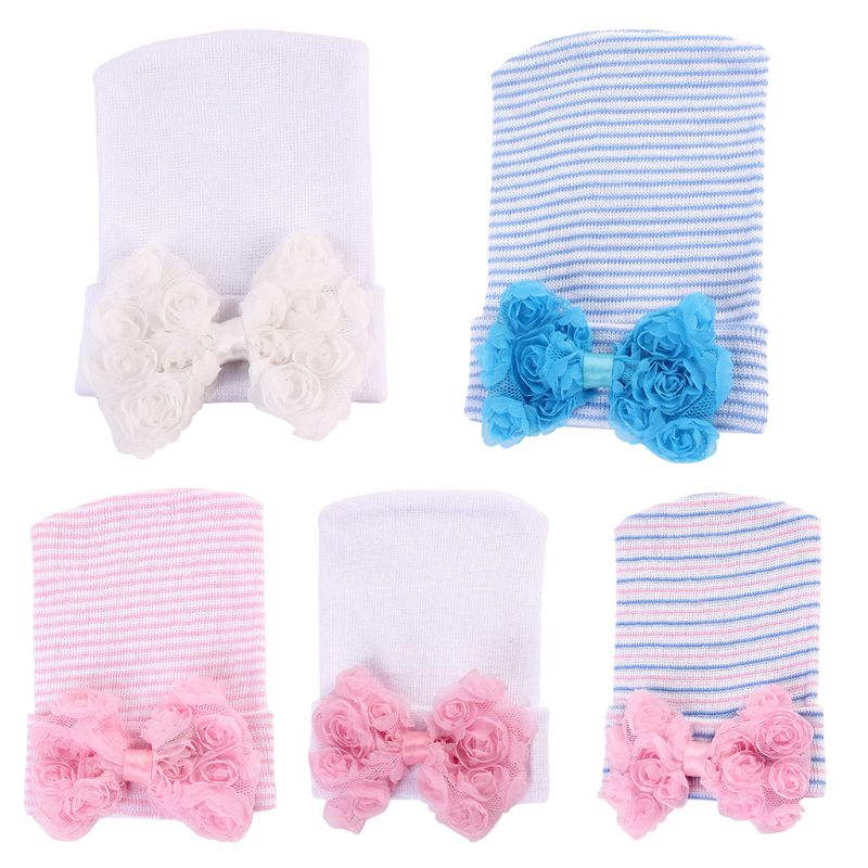 Baby Girl Big Flower Bowknot Knitted Hat Cuff Striped Solid Knit Cotton Cap Warm