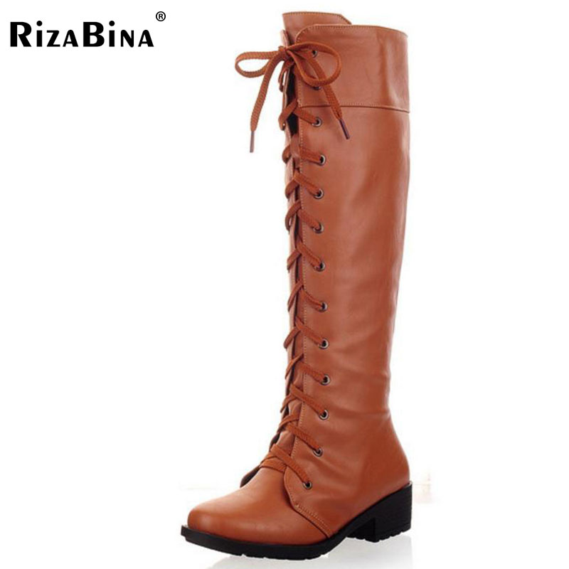 RizaBina women flat over knee boots long boot riding snow warm winter botas cross strap quality footwear shoes P20416 size 34-43
