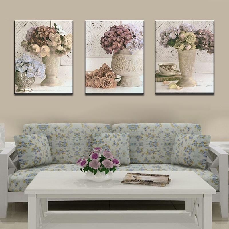 3 Piece Canvas Painting Decoracion Modular Picture Mural Wall Pictures For Living Room HD Print Flowers