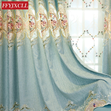 Blue Green Customized Luxury Europe Floral Curtains Cloth for Living Room Bedroom Window Curtain Embroidered Tulle Home