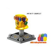 Marvel Avengers 3 Infinity War Thanos Infinity Gauntlet Chrome Golden With 6 Gems figure building block цена и фото