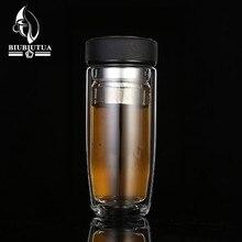 BIUBIUTUA 350 ML Doppel Wasser Flasche Auto Montiert Verbrühen Feste Glasflasche Für Wasser Mit Edelstahl Filter Tee Tumbler männlich