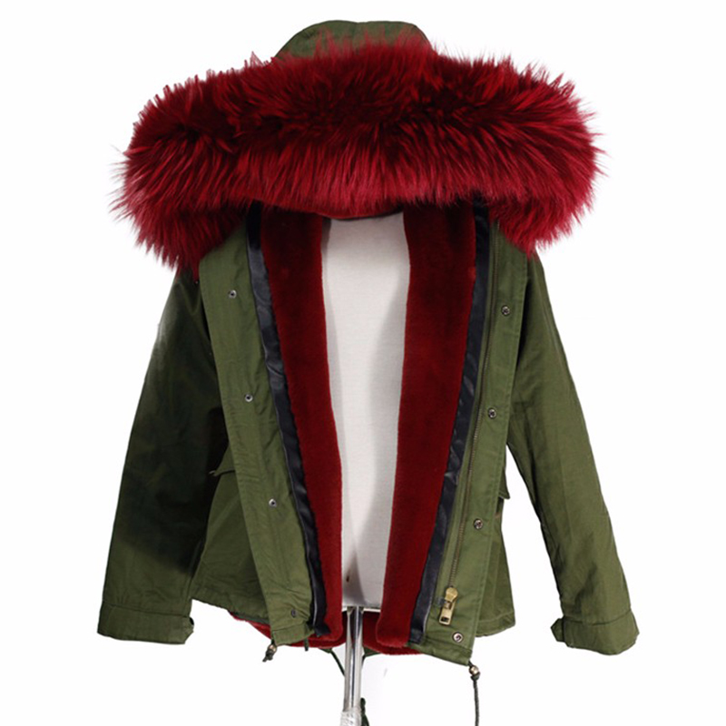 women 39 s army green large color raccoon fur hooded coat. Black Bedroom Furniture Sets. Home Design Ideas
