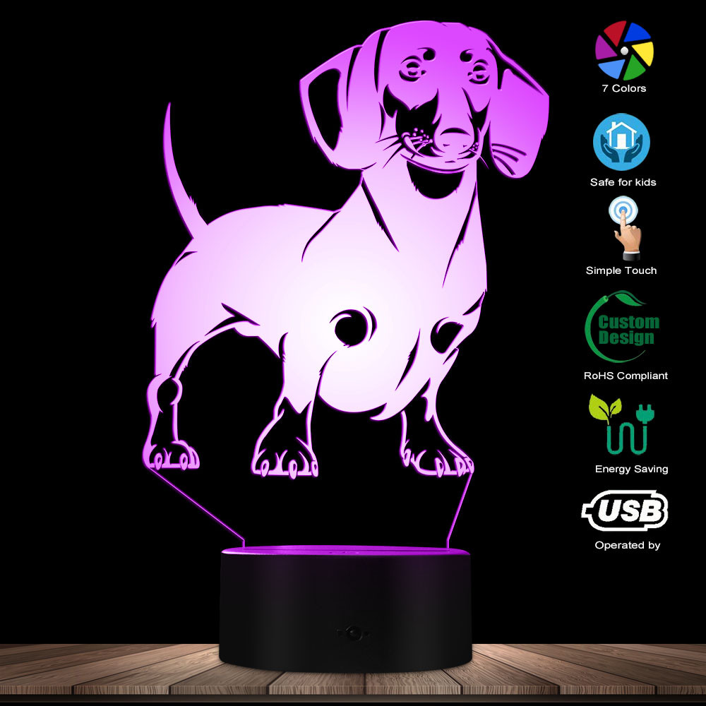 Dachshund Dog Breed 3D Optical Illusion Lamp Handmade Lamp Sausage Dog Pet Puppy LED Night Light With Color Changing Visual Lamp