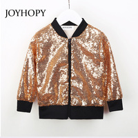 JOYHOPY Girls Jacket Fashion Sequins Baby Girl Coat 2018 Spring Autumn Kids Long Sleeve Outerwear Clothes