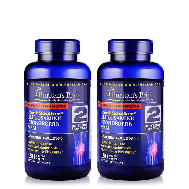 Envío gratis Triple Fuerza Conjunta GLUCOSAMINA CONDROITINA MSM Chupete Movimiento y Flexibilidad 180 cápsulas de 2 botellas