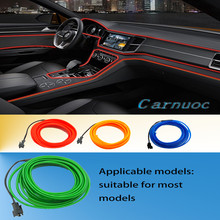 4 pieces of 4 color cold line flexible car lights interior decoration molding automotive environment lighting strips(China)