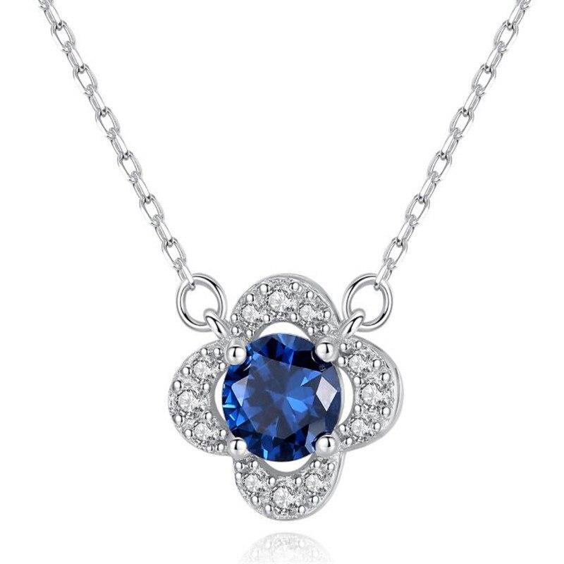 Fashion Cute Sri Lanka Blue Sapphire Flower Shape Jewelry Genuine Gem Stone Pendant Necklace 925 Sterling Silver Necklace