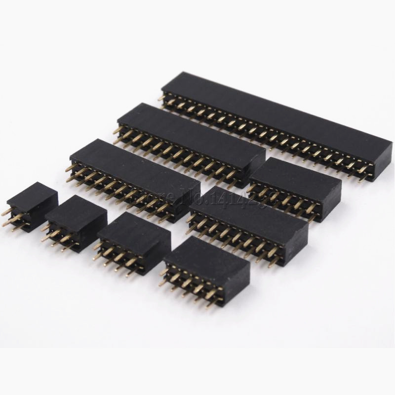 10 Uds perno de doble fila conector hembra paso 2,54mm 2*2p 3p 4p 5, p 6p 8p 10p 12p 40p Pin conector