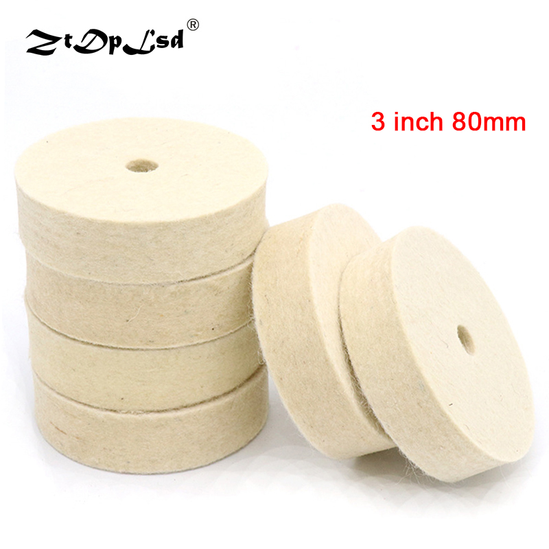 ZtDpLsd 1Pcs 3 Inch 80mm Wheel Buffing Felt Wool Polishing Pad Abrasive Disc Round Polish Buffer Wood Metal Durable Drill Grind