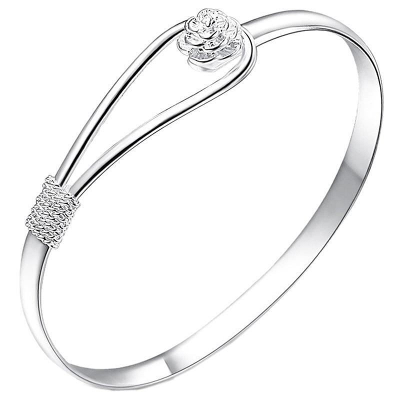Women Bracelet Silver Plated Simple Rose Cuff Bangle Bracelet Jewelry