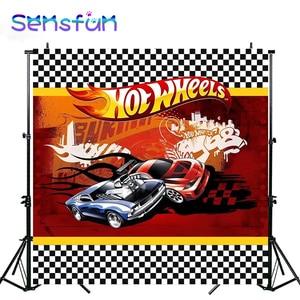 Image 5 - Sxy0208 fundos de fotografia de carro, bandeira para fundos de fotografia de carro para meninos chuveiro de bebê roda quente para estúdio de fotos 10x10ft