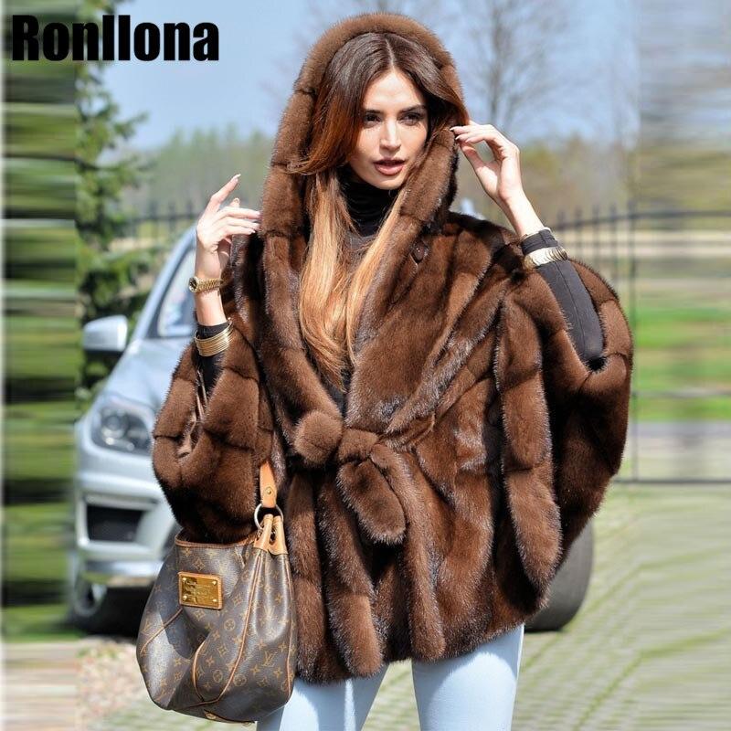 2018 Новый реального норки пальто с капюшоном Bat рукавами с поясом роскошный мех норки пальто Зимние Оригинальные Меховая куртка Для женщин н