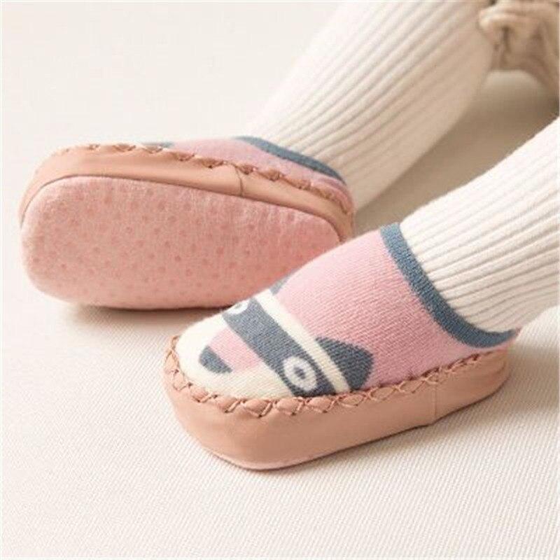 Baby Shoes Socks Infant Cartoon Indoor Floor Socks Leather Sole Non-Slip Thick Towel Shoe 2