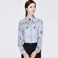 100 Silk Blouse Women Lightweight Printed Fabric Simple Design Long Sleeves Office Work Shirt Elegant Style