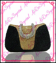 Aidocrystal fashion handmade black and golden diamonds ladies handbag and matching high heeled shoes for party