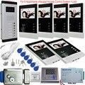 Видеодомофон с электронным замком  4 3 дюйма  6 мониторов + система контроля доступа  ИК Комплект ночного видения